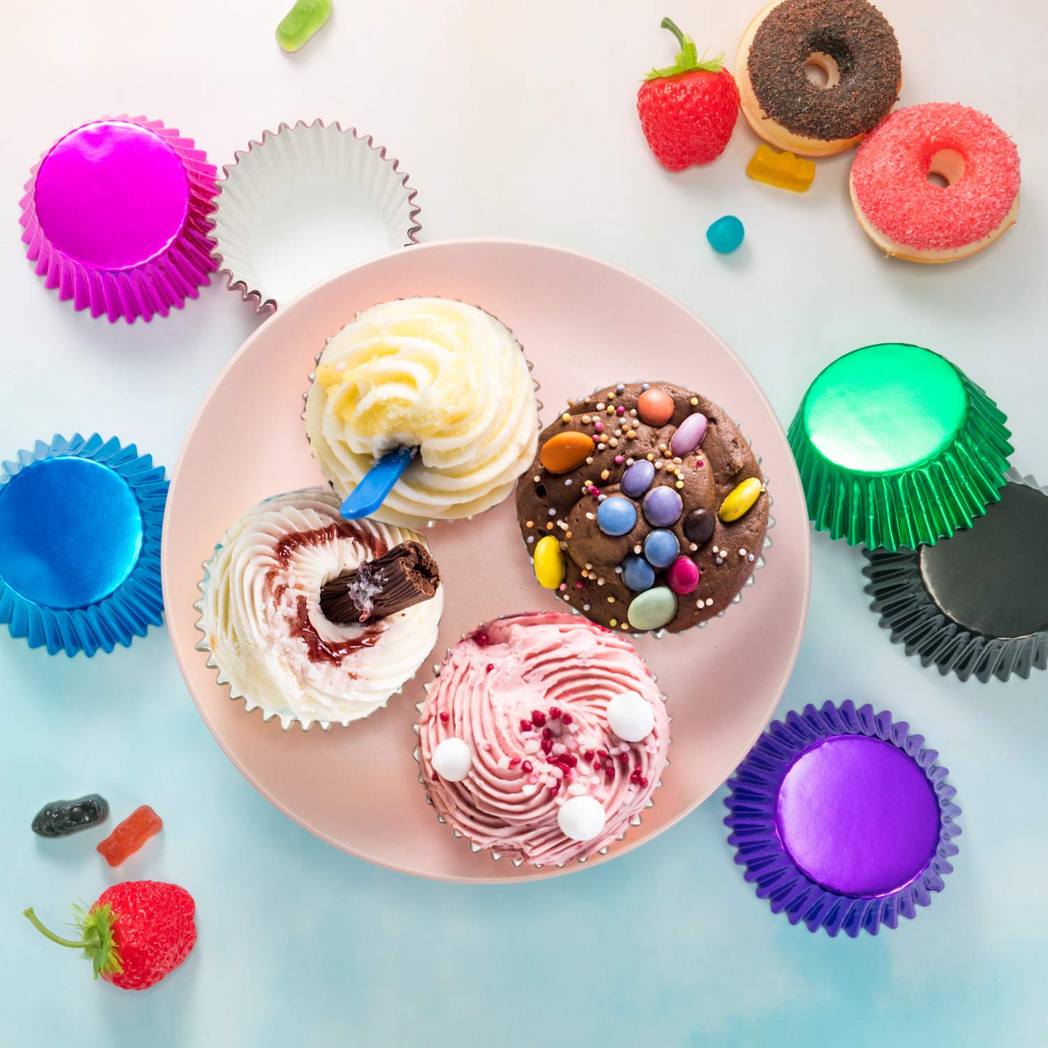 Sumind 10 Colors Paper Baking Cups Foil Cupcake Liners Muffin Case Decoration Cups (400 Pieces) by Sumind (Image #7)