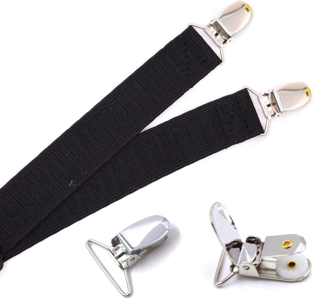 THEE Mens Women Shirt Stays Garter with Non-slip Locking Clamps