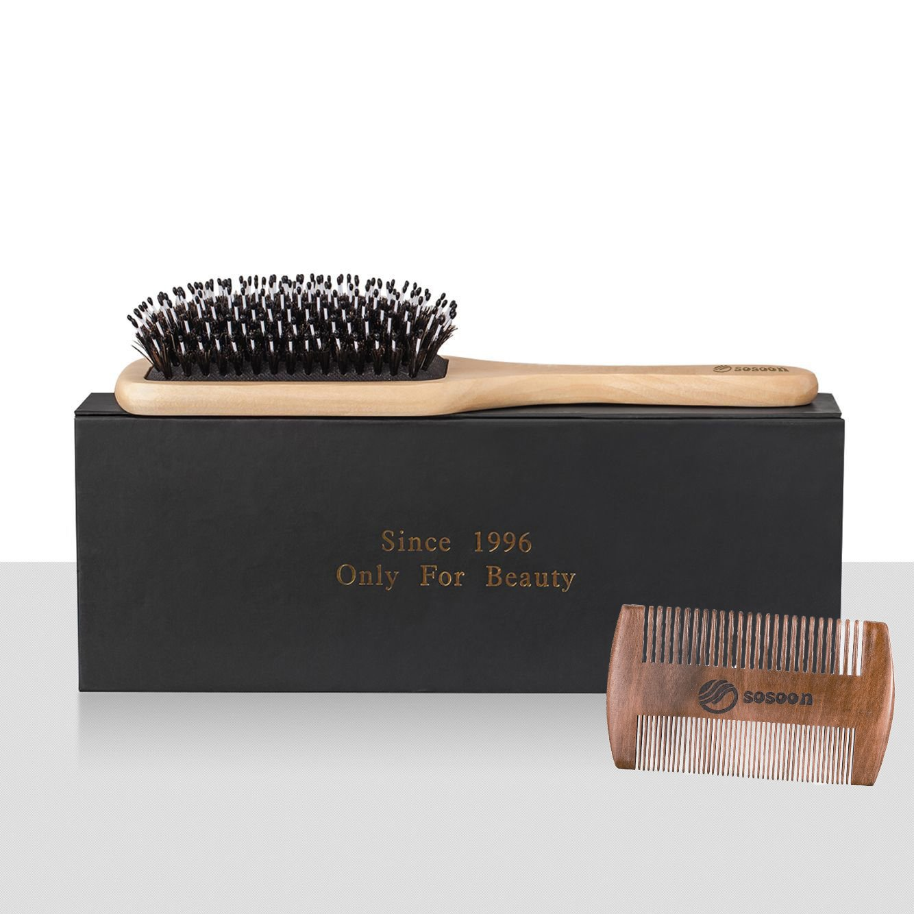 Hair Brush-Boar Bristle Hairbrush for Women Men Long Thick Fine Curly Wavy Dry or Wet Hair,Best Brush Set for Reducing Hair Breakage and Frizzy-Wooden Comb&Giftbox Inclued by Sosoon (Image #5)
