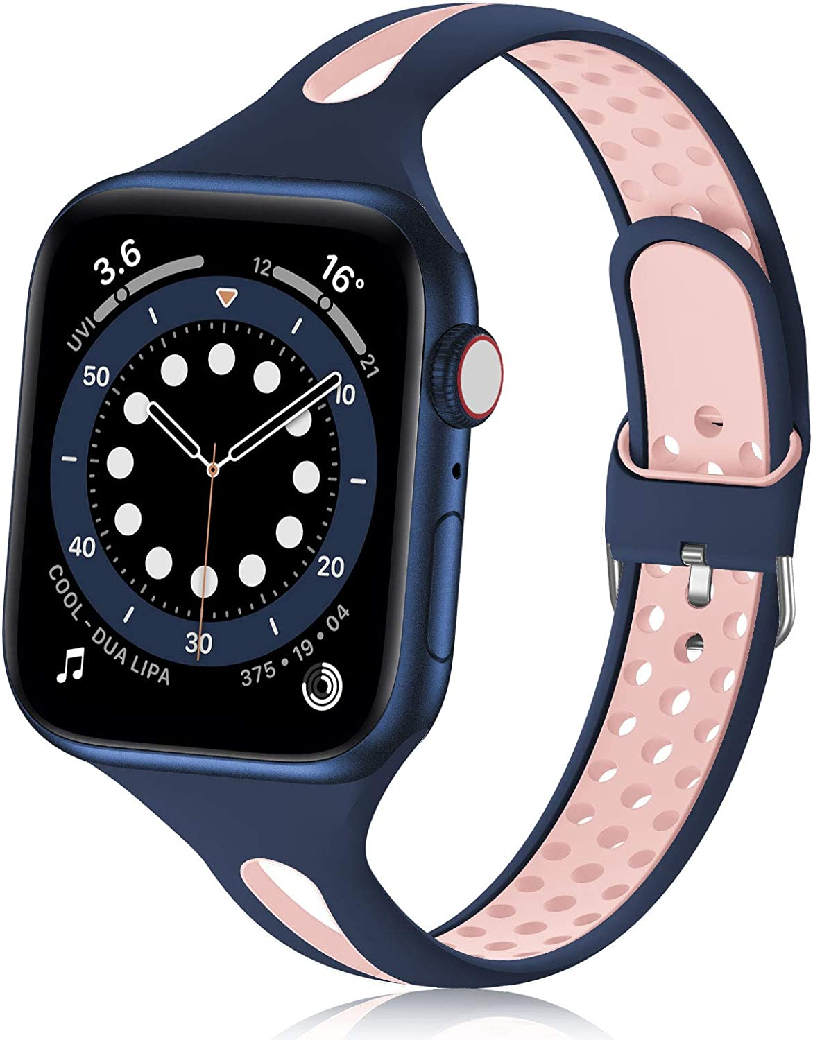 Bandiction Compatible with Apple Watch Bands 38mm 40mm, Soft Silicone iWatch Bands 38mm 40mm Sport Bands Women Men Thin Slim Narrow Breathable Watch Strap Compatible for iWatch SE Series 6 5 4 3 2 1