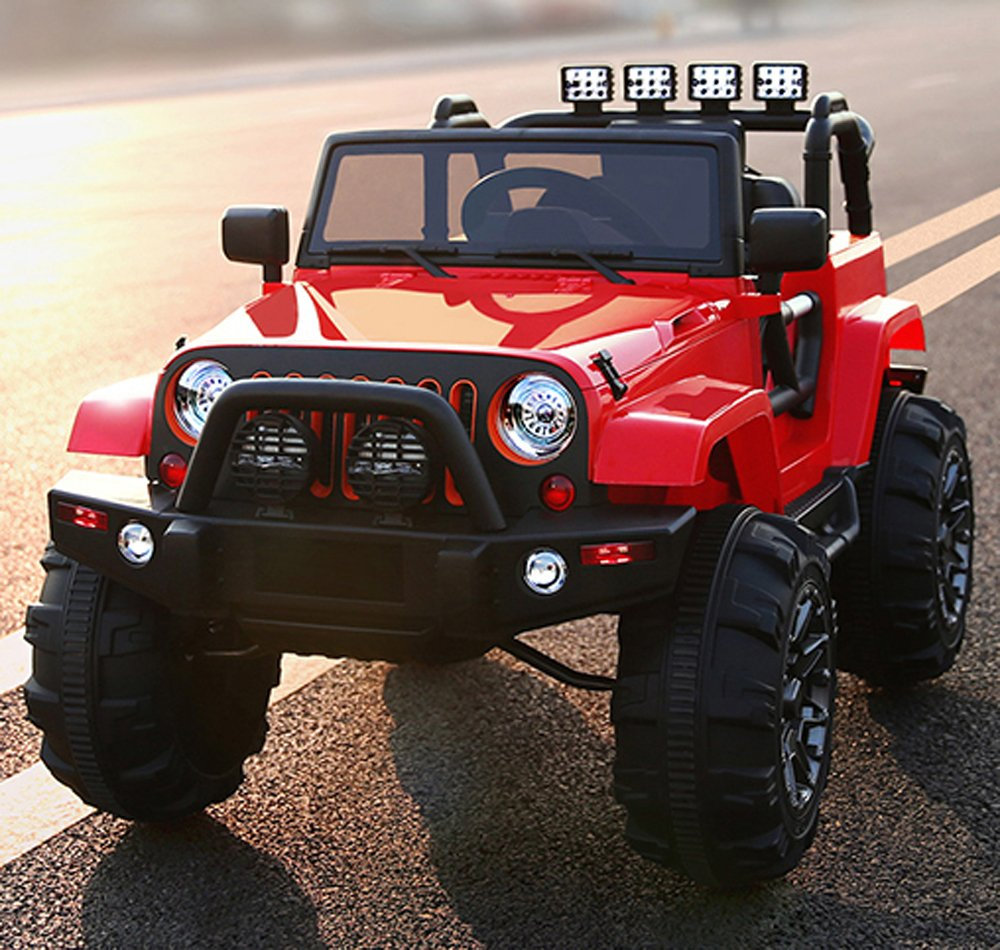 amazoncom kids ride on jeep 12v power with big wheels and remote control red toys games