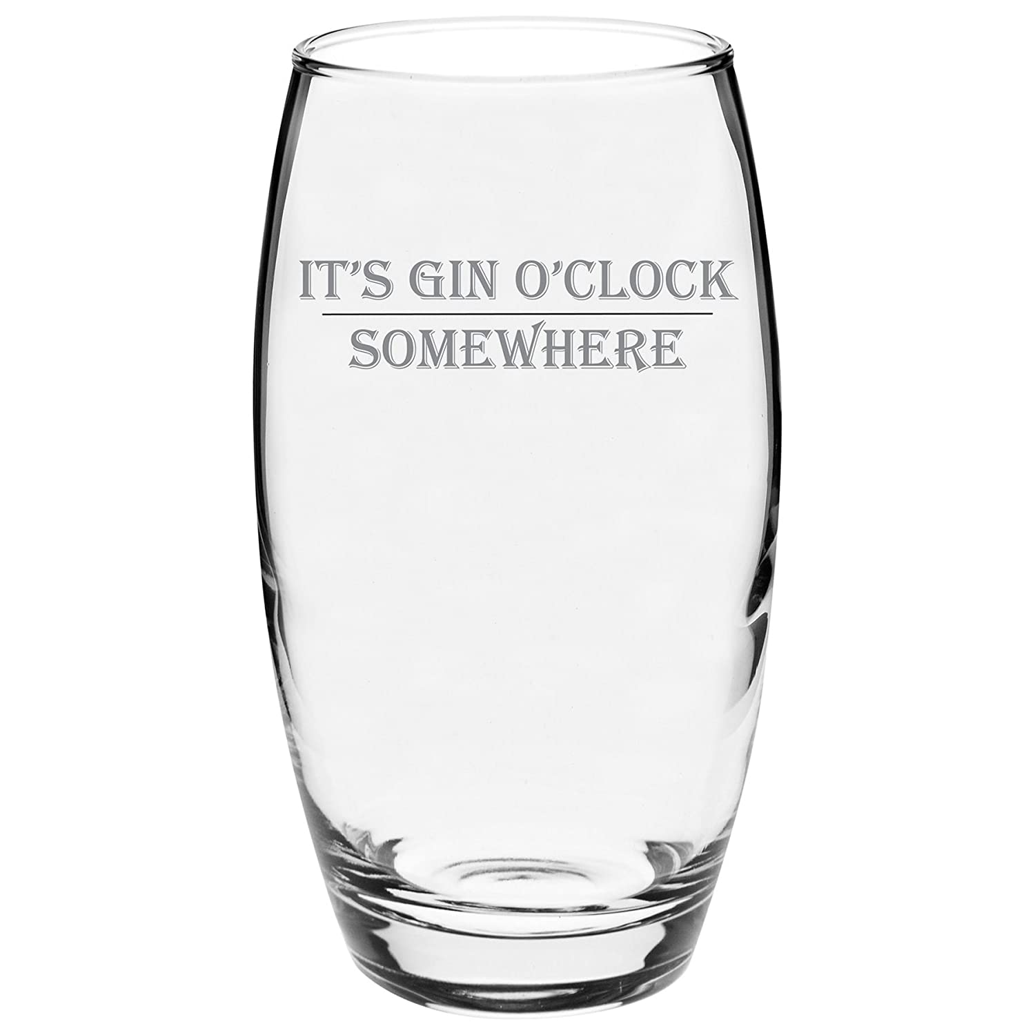 Argon Tableware Engraved Glass Highball Cocktail Tumbler - Gin o'Clock - 510ml