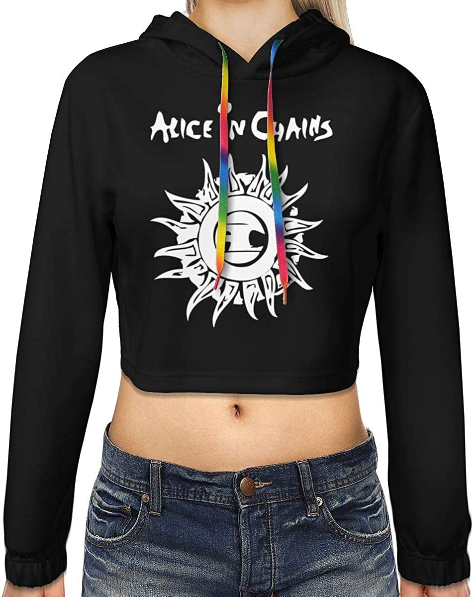 Womens Alice in Chains Logo New Plus Velvet Fashion Hoodie Navel Exposed Hooded Sweater