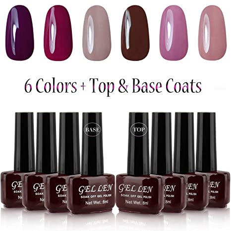 eabe8d7f12d Buy Gellen UV Gel Nail Polish Kit 6 Colors Base   Top Coats 8ml Each  Manicure Salon Set 10 Online at Low Prices in India - Amazon.in