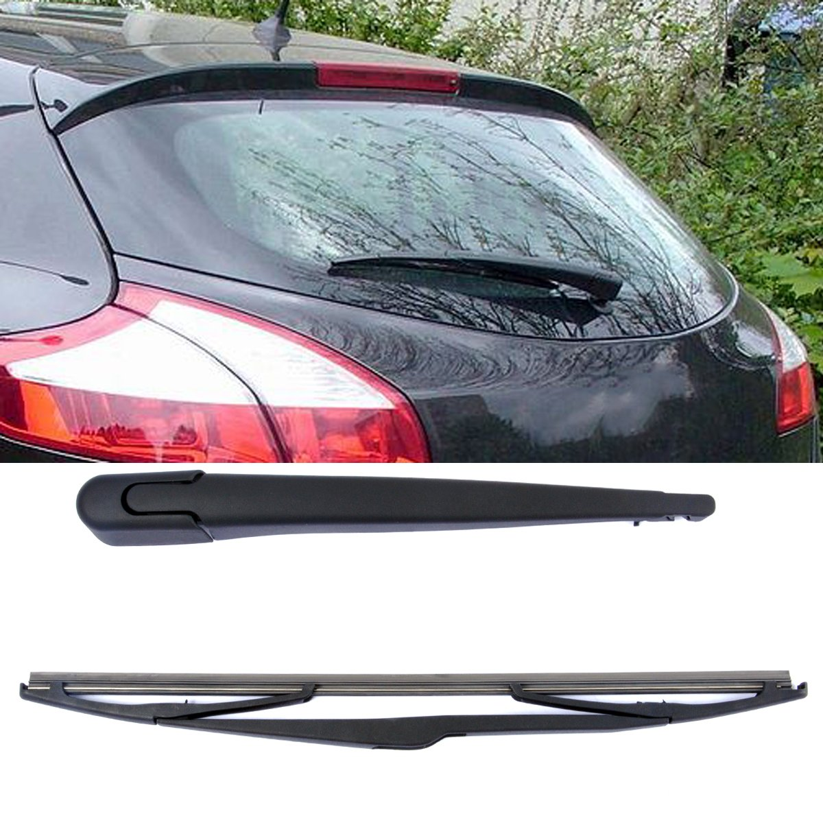 Brazo y Escobilla para limpiaparabrisas trasero (350 mm), color negro, 2 unidades