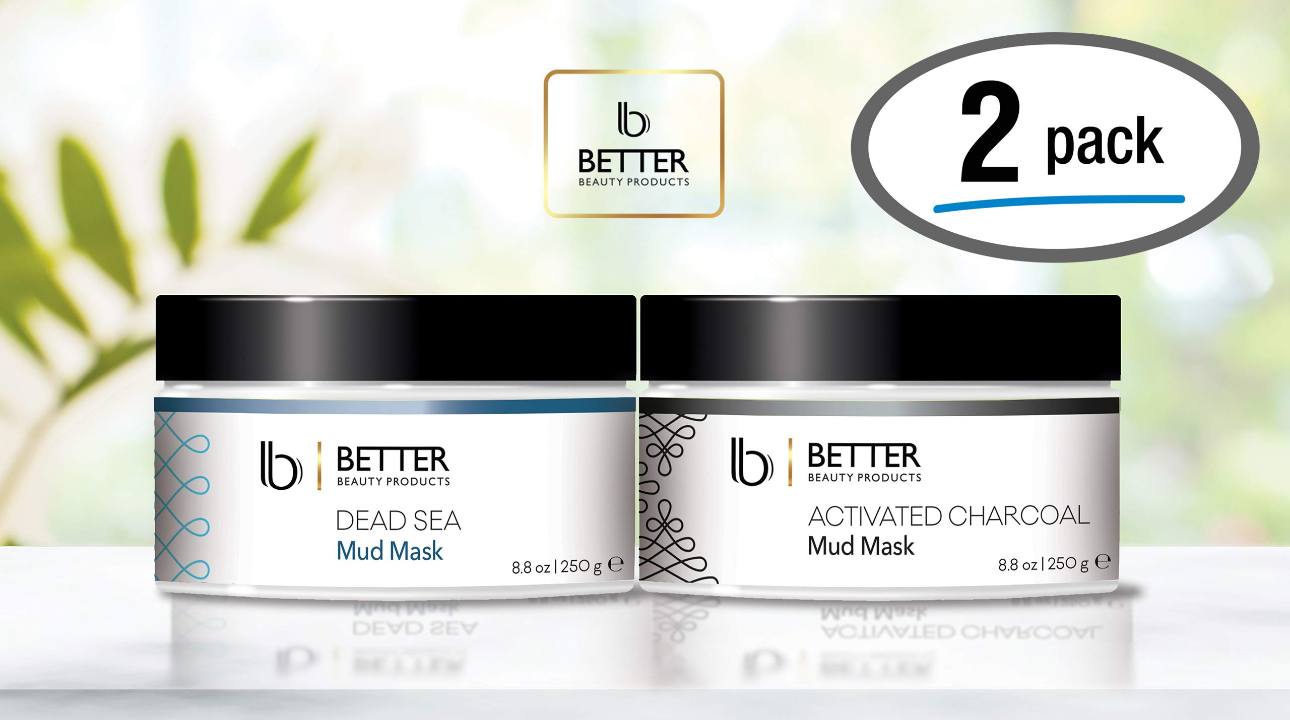 2 Pack Face and Body Masks by Better Beauty Products, Dead Sea Mud Mask and Activated Charcoal Mask, 8.8 oz, Two For One Great Value