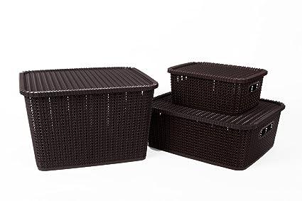 Regalo Multipurpose Storage Basket with Lid (Set of 3) Dark Brown  sc 1 st  Amazon.in & Regalo Multipurpose Storage Basket with Lid (Set of 3) Dark Brown