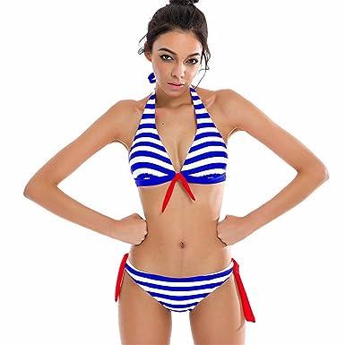 0ddcac48cf865e YUAN Bademode Frauen Bikini Set Push Up Neckholder Bandeau Bademode Mit  Bügel Und Streifen Schalen Cups