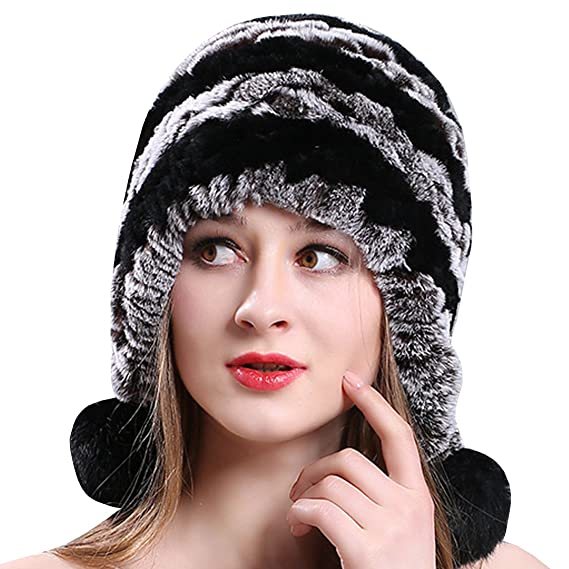 5c767dc94e86b Ankoee Hiver Chapeau Chapkas Casquette Femme Fausse Fourrure Fille Beret  Bonnet Beret Chapeaux (Gris+