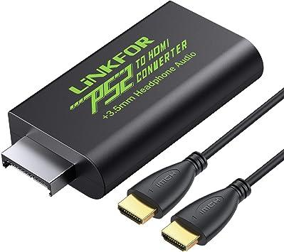LiNKFOR PS2 a HDMI Convertidor Playstation 2 a HDMI Video y adaptador de audio de auriculares de 3,5 mm con cable HDMI de 1 m compatible con monitores PS2 HDTV HDMI: Amazon.es: Electrónica
