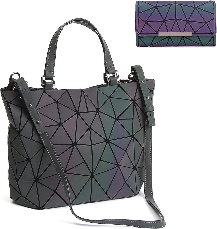 Geometric Luminous Purses and Handbags Holographic Reflective Crossbody Bag Wallet Flash Rainbow Tote