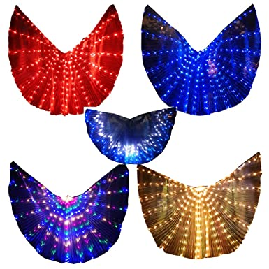 64c478095 Amazon.com: LED Isis Wings Glow Light Up Belly Dance Costumes with Sticks  Performance Clothing Carnival Halloween Blue: Clothing