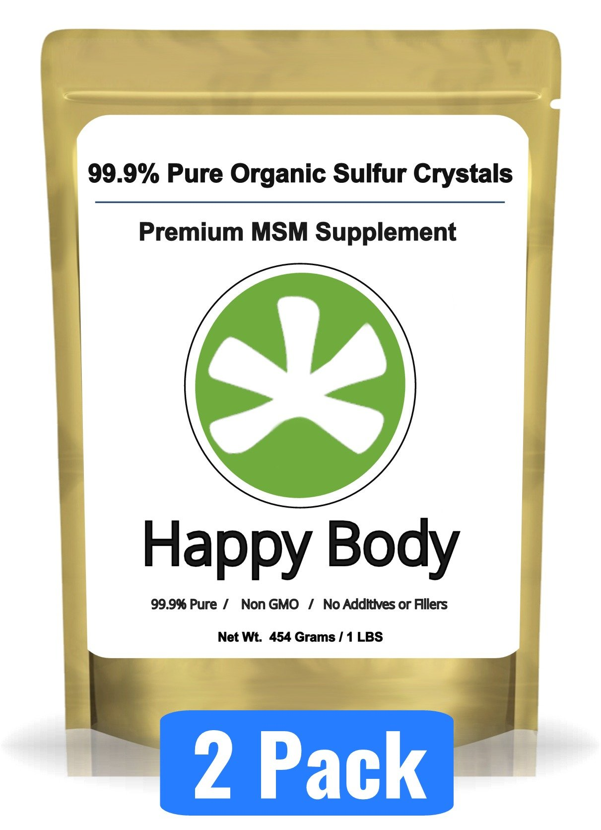 Organic Sulfur Crystals - 99% Pure MSM Crystals, Premium MSM Supplement - 2 x 1 LBS Pack