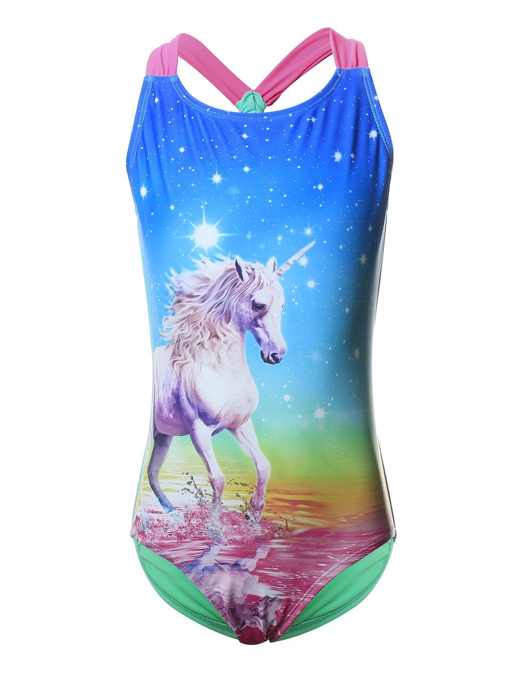 Unicorn Swimwear for Girls, One Piece UPF 50+ Swimsuit Racerback Beach Bathing Suits