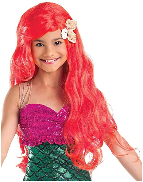 Kids Red Little Mermaid Wig with Sea Shells
