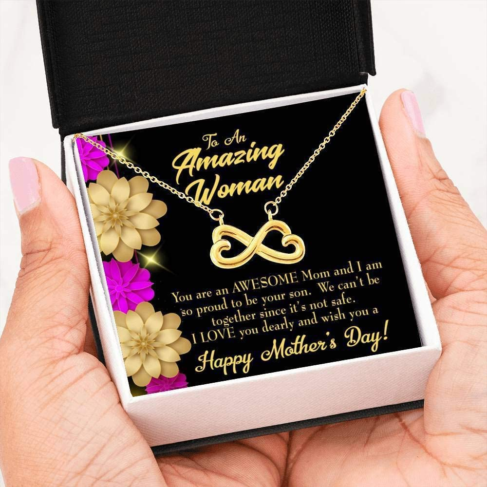 Keepsake Card Jewelry Gift Mother Necklace Awesome Mom Infinity Pendant Stainl