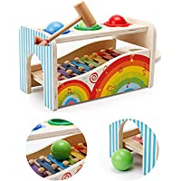 Webby Wooden Pounding Bench with Hammer & Ball Toy for Kids, Multicolor