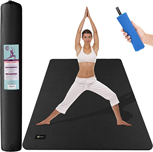 CAMBIVO Large Yoga Mat 6 x 4 x 6mm , Extra Wide TPE Mat for Men and Women, Exercise Fitness Mat for Home Gym, Yoga, Pilates, Workout