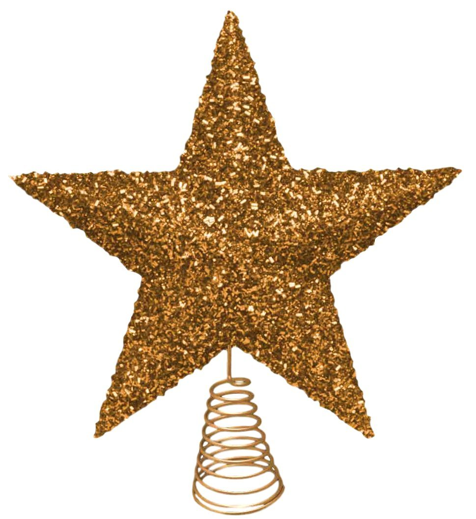27cm Beautiful Gold Sparkly Tinsel Tree Top Star - Christmas Tree Topper by Christmas Shop