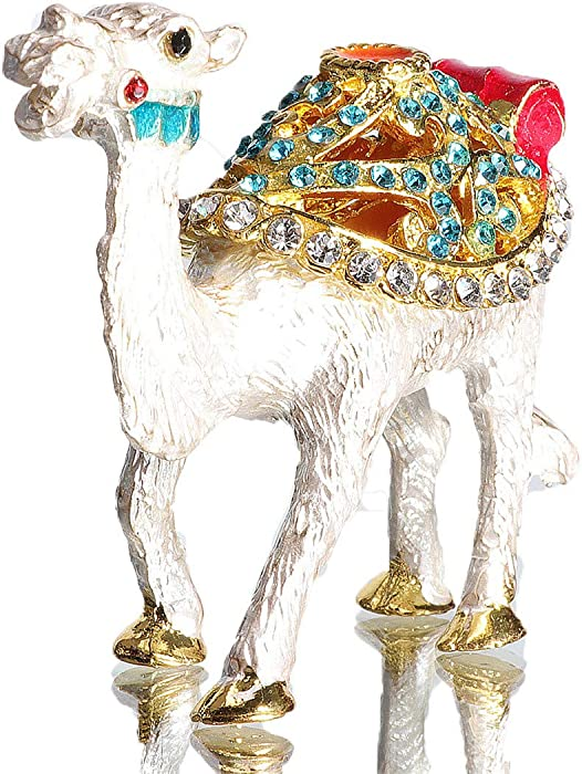 Waltz&F Bejeweled Camel Trinket Box Hand Painted Collectiable Figurines Decor Box with Crystals Ornaments