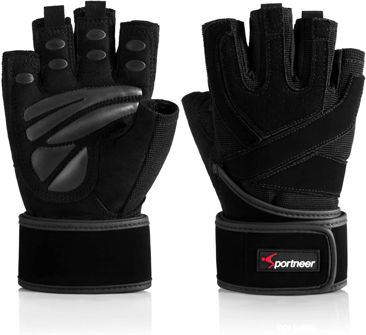 Crossfit,Weightlifting Black//White or Black Premium Quality Materials. Muscle Composition Gym Gloves with Wrist Support for Gym Workout