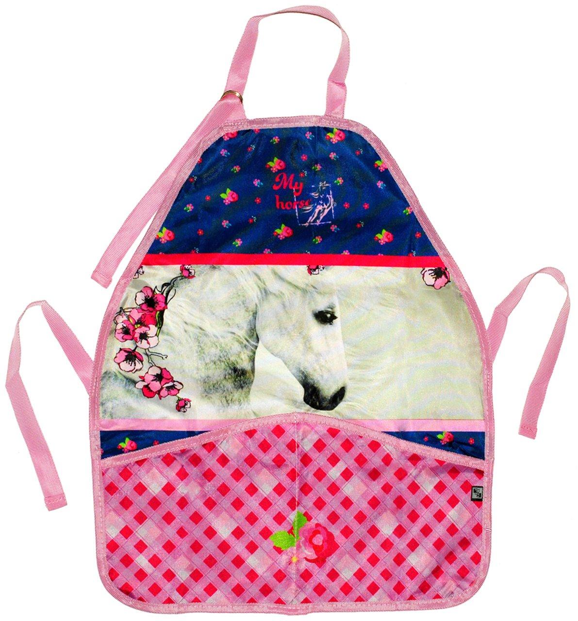 Kinderschü rze - ' Pferd / Romantic Horse ' - grö ß enverstellbar mit 2 Taschen - Schü rze / beschichtet - fü r Mä dchen & Jungen - Kinder - Backschü rze / Bastelschü rze / Gartenschü rze - malen kneten kochen
