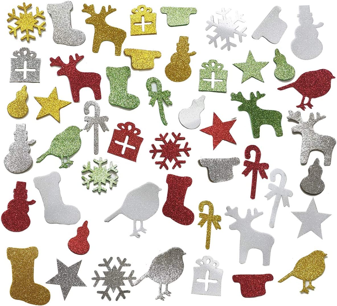 Misscrafts 150pcs Foam Glitter Stickers Self-Adhesive Christmas Theme Stickers for Christmas Decors Greeting Cards Home Party Supplies