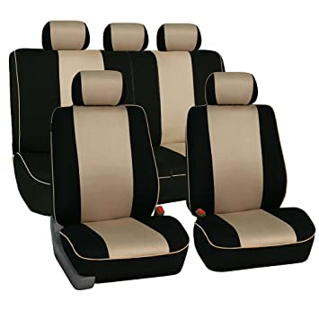 Amazon FH Group Universal Fit Full Set Cloth Car Seat Cover With Piping Airbag Split Ready Beige Black FB063115 Most Truck Suv