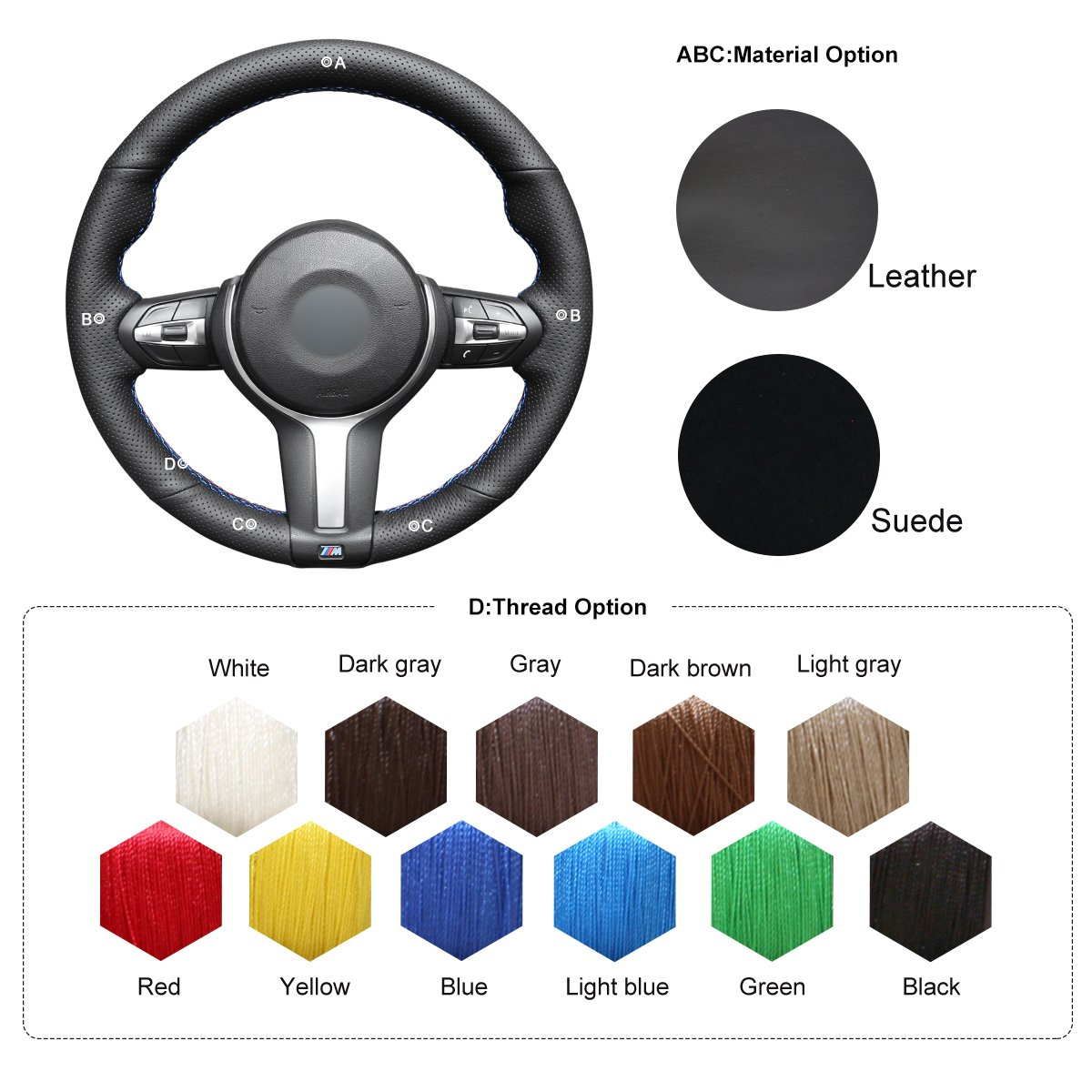 MEWANT Handmade DIY Black Artificial Leather Car Steering Wheel Covers Wrap for F87 M2 2015-2017 F80 M3 2014-2017 F82 M4 M5 F12 F13 M6 F85 X 5 M F86 X 6 M F33 F30 M Sport