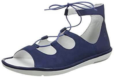 Mome860fly, Sandales Bout Ouvert Femme, Bleu (Blue), 36 EUFLY London