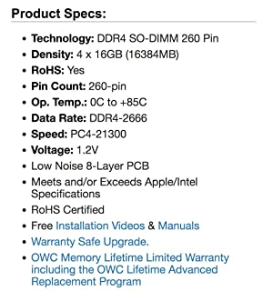 OWC 64GB (4 x 16GB) 2666MHz DDR4 PC4-21300 SO-DIMM 260 Pin Memory Upgrade, (OWC2666DDR4S64S), for 2019 27 inch iMac (iMac19,1) and PC laptops (Color: (4 x 16GB), Tamaño: 64 GB)