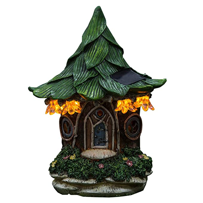 Ivy Home Solar Powered Garden Fairy Statues Tree Hanging Resin Fairy House