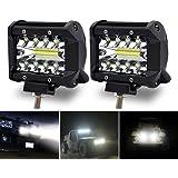 Safego 60W 作業灯 LED ワークライト 狭角30度 フラッドライト 12V-24V対応 汎用 車外灯 農業機械 4インチ 角形 6000K ホワイト 2個 TR18W-SP-2