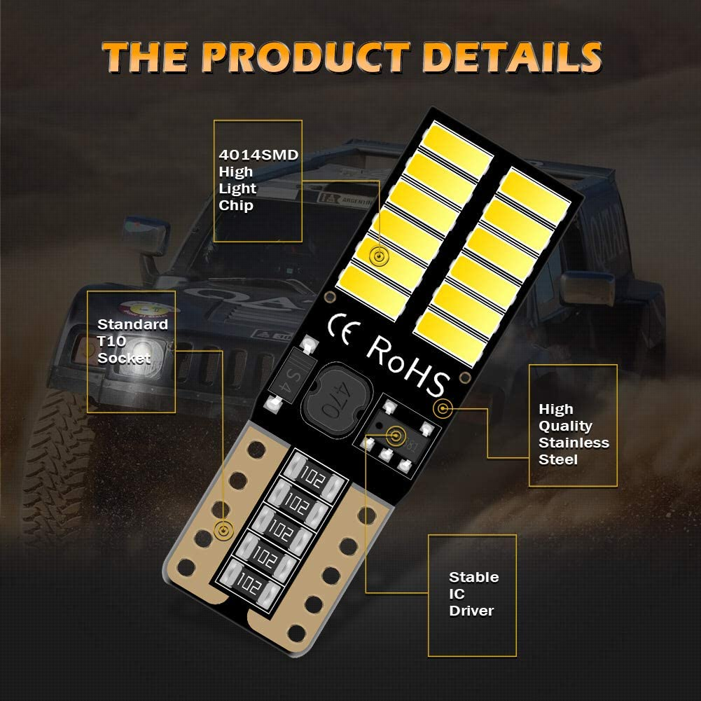 KaTur 800 Lumens T10 W5W 2825 168 LED CanBus Error Free 4014 24 SMD 5W Car Front Side Marker Door Courtesy License Plate LED Light Bulbs White 10-Pack