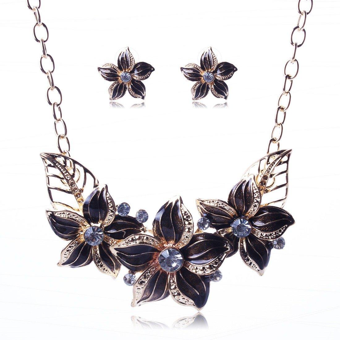 Qiyun blue 3 flower pendant necklace beautiful earrings popular 3 Fleurs Bleu Collier W005N1523