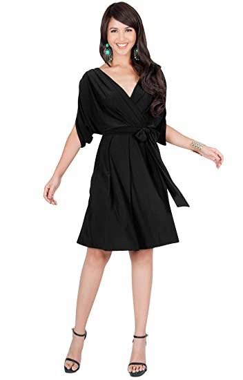 eb79fe76cb01f KOH KOH Womens V-Neck Short Sleeve Flowy Work Knee Length Day Midi Dress