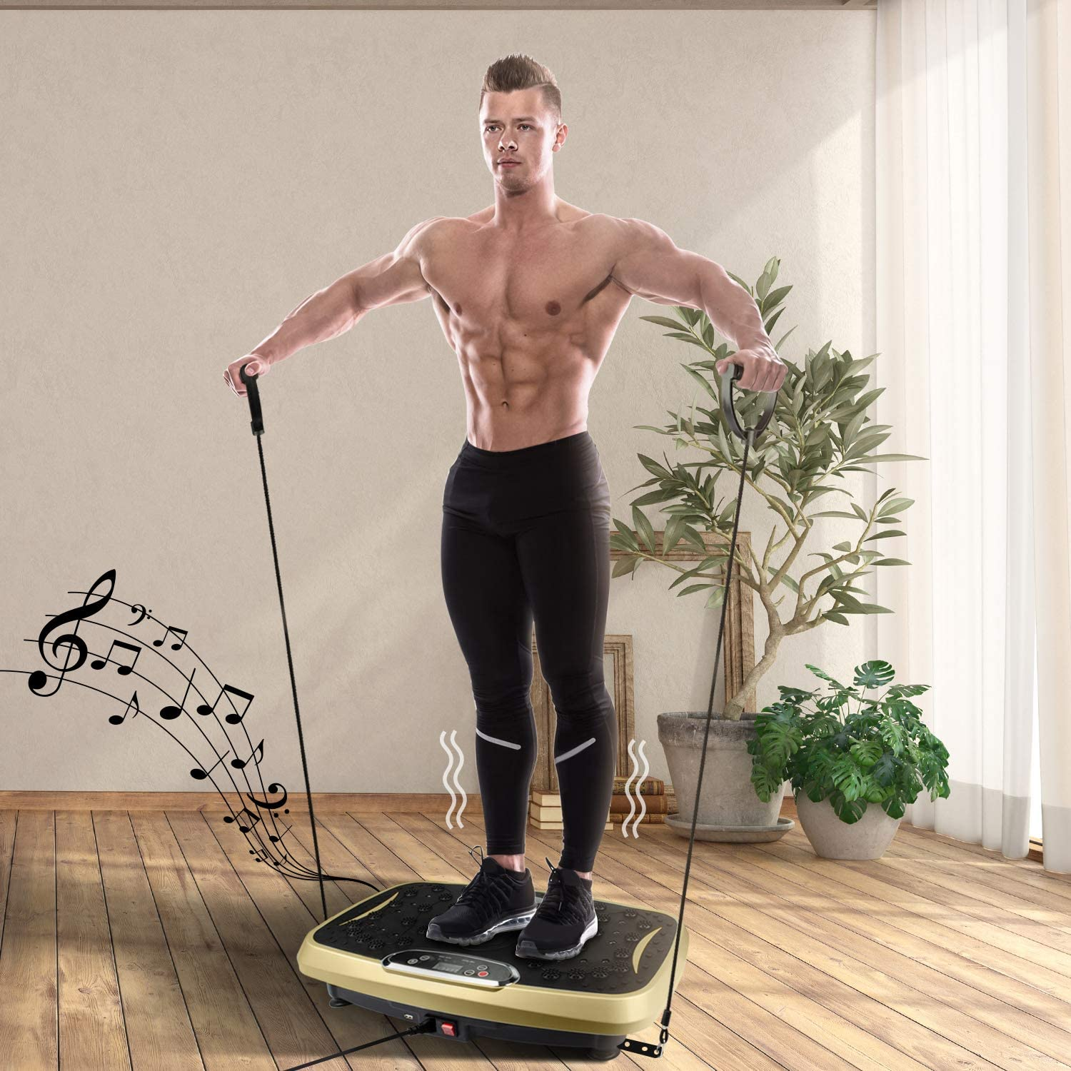 Elynn Vibration Plate Whole Body Exercise Machine with Touch LED Screen Massage Workout Trainer Vibration Platform Gold Max User Weight 330lbs