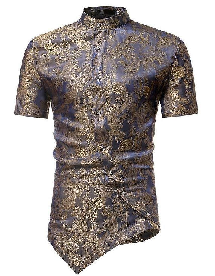 Fubotevic Men Buttons Short Sleeve Business Irregular Stylish Print Dress Shirts
