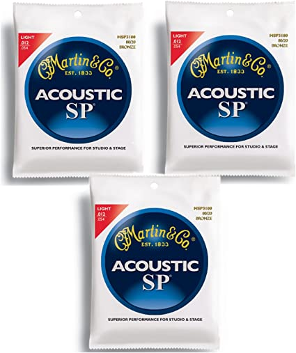 Ships Free Martin MSP3100 SP 80//20 Bronze Acoustic Guitar Strings Light Gauge
