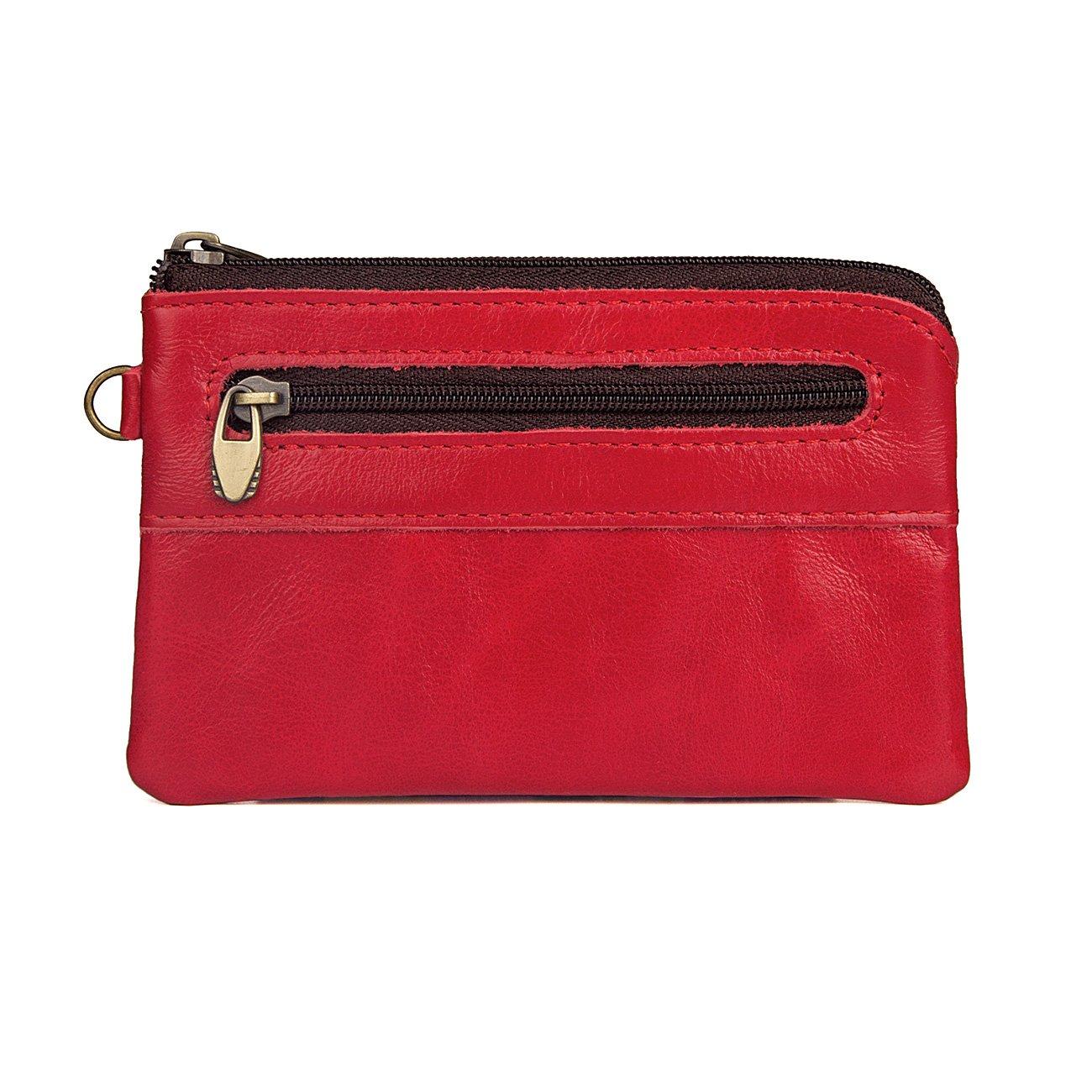 Womens Genuine Leather Zipper Mini Coin Purse change pocket