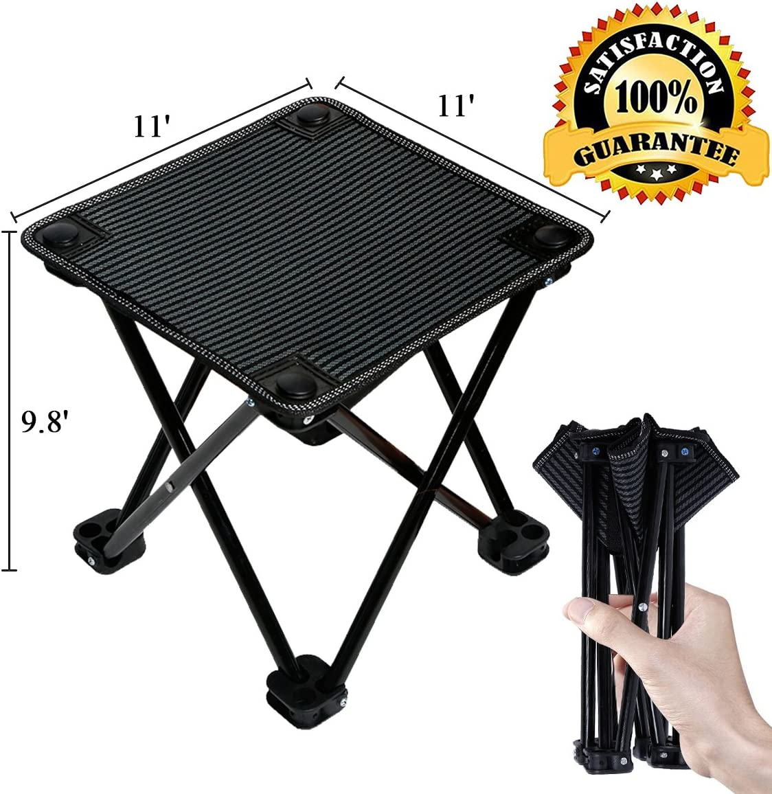 Folding Portable Camping Stool Mini Lightweight Sturdy Collapsible Chair for Camping, Fishing, Hiking, Fishing, Travel, Beach, Picnic with Portable Bag, Black Black-Medium