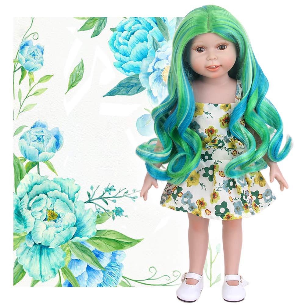 stfantasy American Girl muñeca peluca Ombre verde relieve ...