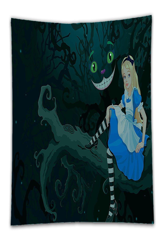 Beshowereb Fleece Throw Blanket Alice in Wonderland Decor Alice Sitting on Branch with Chescire Cat in DarknesStripedLove for Bedroom Living Room Dorm Multi Color.jpg BLH171001-00664-100x125