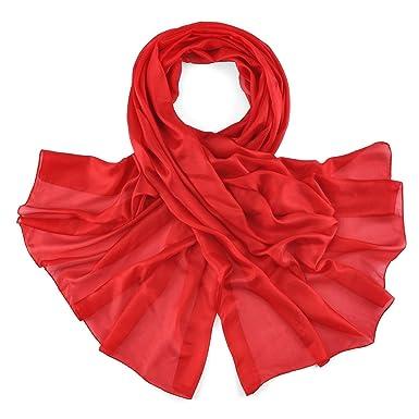 520c389daa68 Allée du foulard Etole soie rouge vermillon  Amazon.fr  Vêtements et ...