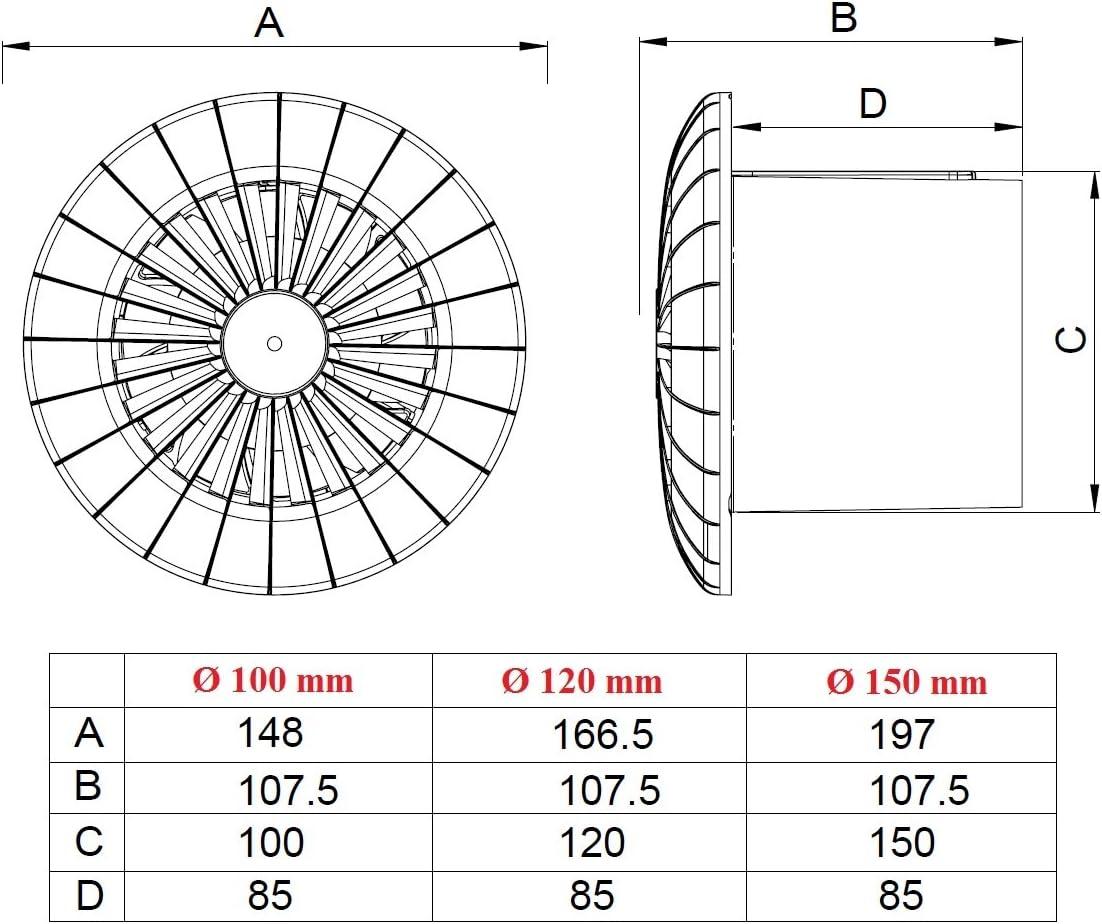 adapt/é /à un usage prolong/é aRidTS A/érateur mural /à encastrer /Ø 100/mm silencieux avec roulement /à billes et minuterie