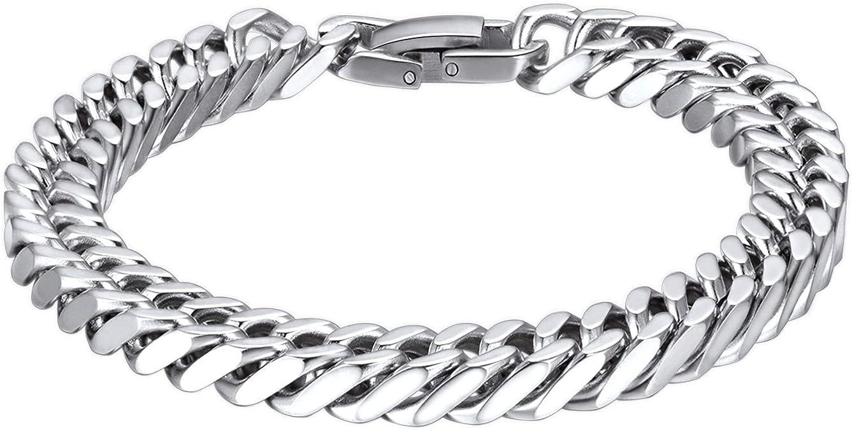 """8.3/"""" Motard Heavy Acier Inoxydable 8 mm Franco Link Curb Chain Bracelet Pour Hommes Garçon"""