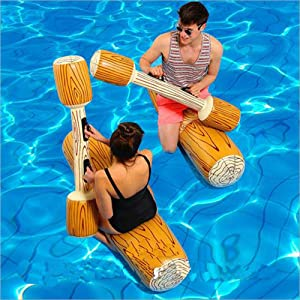 LOVEYIKOAI 2 Pcs Package Inflatable Floating Water Toys Aerated Battle Logs,Floating Bed Pool Lounger Giant Floats Ride Boat Raft for Pool Party Beach Swimming Pool Toys for Adult and Kids