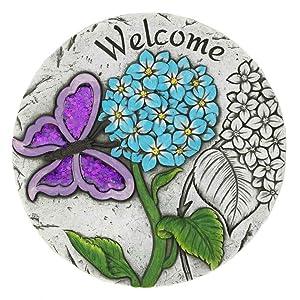 Summerfield Terrace 10018542 Welcome Butterfly Garden Stepping Stone, Multicolor