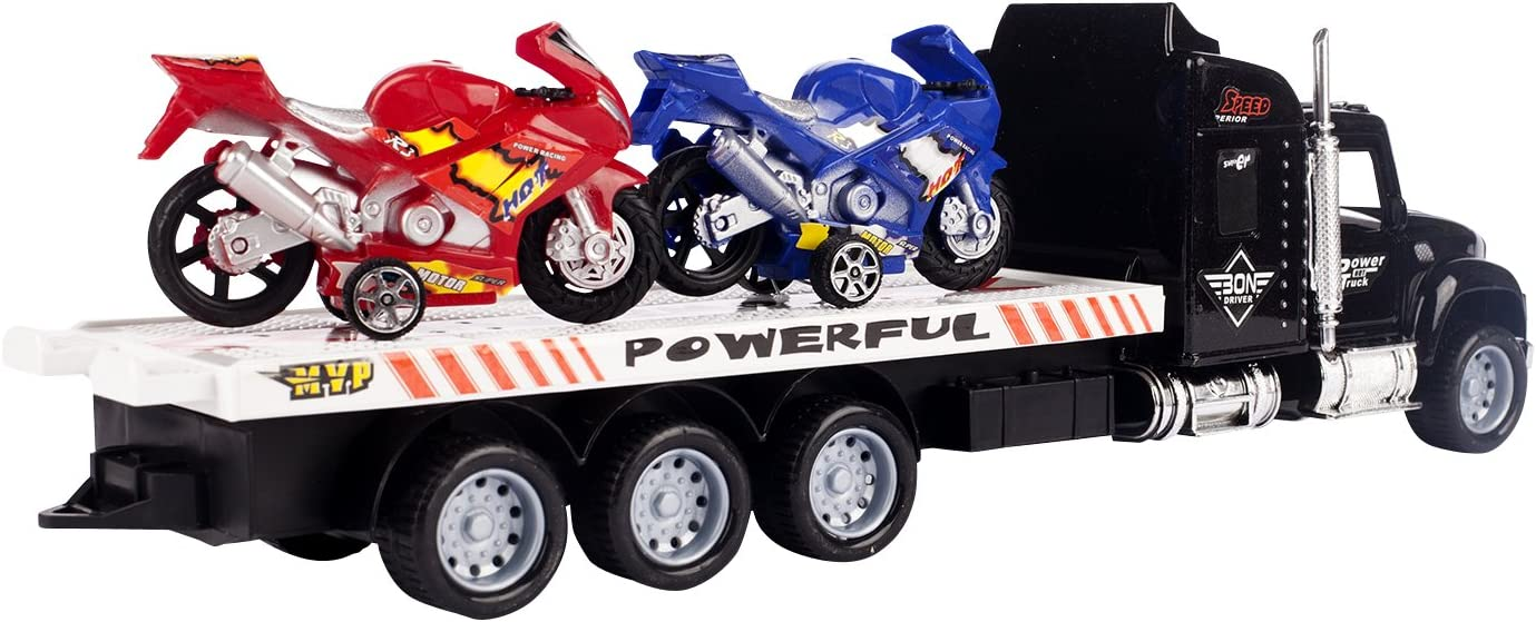 New Ray Power Up Pull Back Dirt Bike Toys 4 Pack with Free Sticker