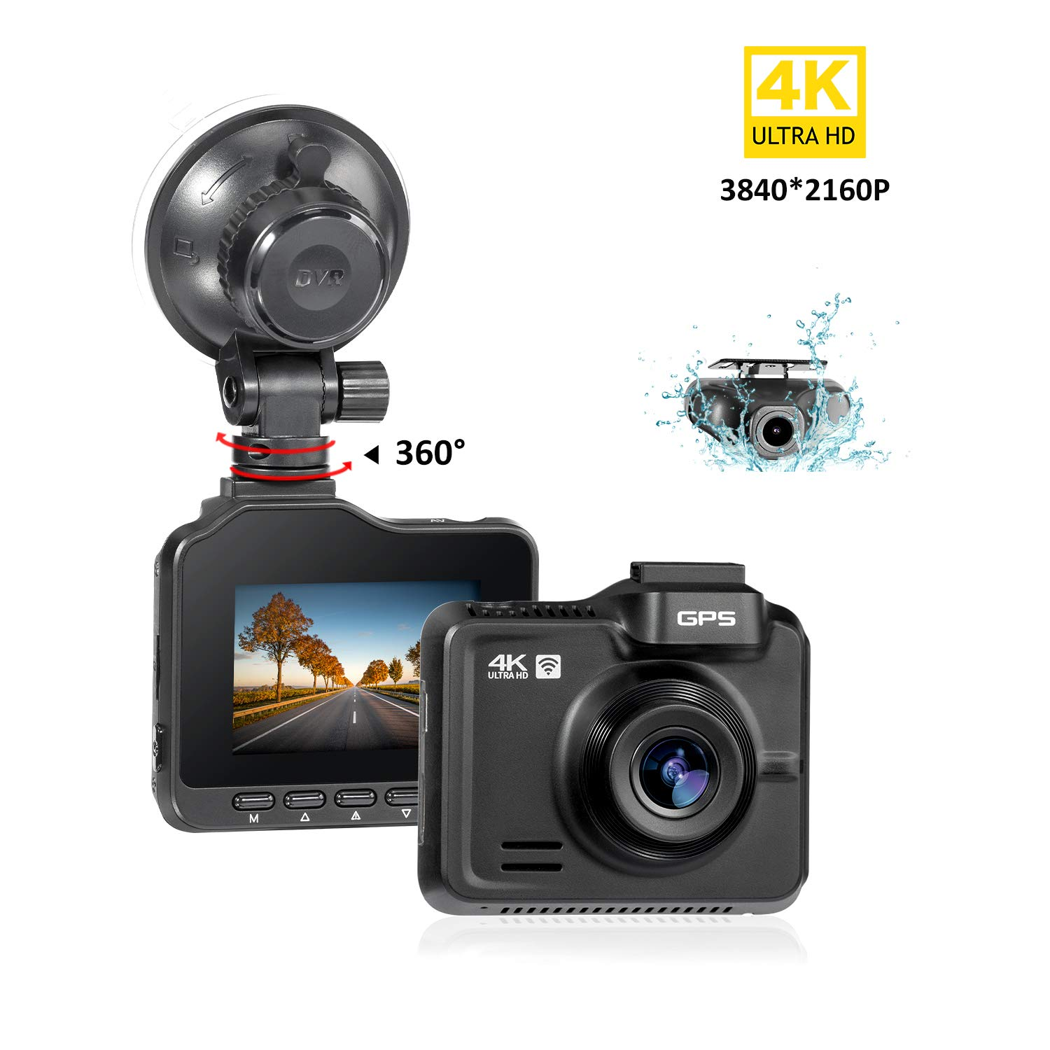 Lifechaser Dual Dash Cam 4K+1080P Front and Rear Car Camera 3840x2160P WiFi GPS Night Vision, 2.4'' IPS Screen, 170° Wide Angle, Parking Mode, WDR, Time Lapse, G-Sensor, Loop Recording for Cars, Truck